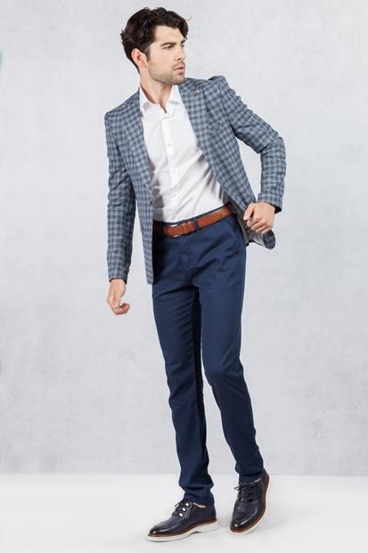 Kare Desenli Ceket Lacivert Pantolon Kombin