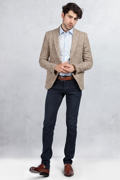 Kahverengi Kırçıllı Ceket - Slim Fit Lacivert Jean Kombin