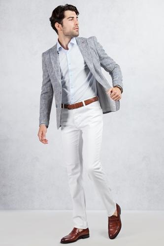 Gri Mavi Kırçıllı Ceket - Beyaz Jean Kombin