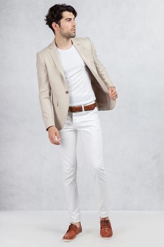 Bej Ceket - Beyaz Slim Fit Jean Kombin