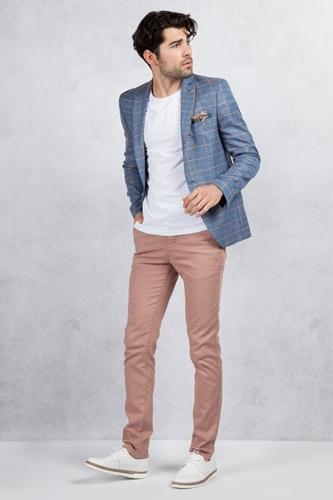 Pembe Sarı Ekose Ceket - Kiremit Rengi Pantolon Kombin