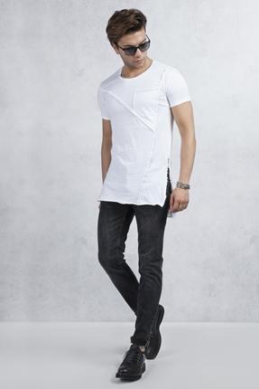 Beyaz Fermuarlı Tişört Siyah Jean Kombin