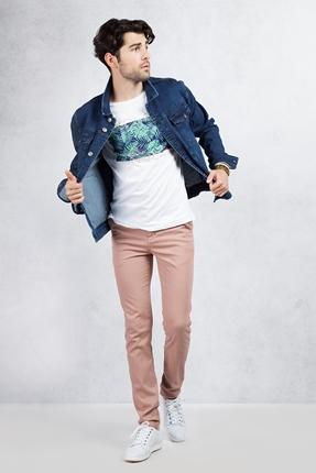 Mavi Kot Ceket - Kiremit Rengi Pantolon Kombin