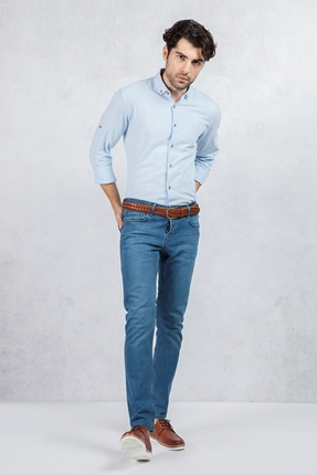 Mavi Kırçıllı Gömlek - Dar Paça Mavi Jean Kombin