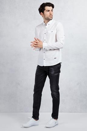 Beyaz Slim Fit Gömlek - Siyah Taşlamalı Slim Fit Jean Kombin