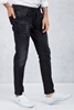 Siyah Yırtık Taşlamalı Slim Fit Jean Kombini