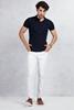 Lacivert Polo Yaka Tshirt - Beyaz Slim Fit Jean Kombini