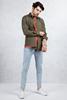 Haki Yeşil Slim Fit Erkek Gömlek - Buz Mavisi Dar Paça Jean Pantolon Kombini