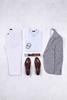 Gri Mavi Kırçıllı Ceket - Beyaz Jean Pantolon Kombini
