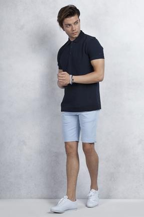 Lacivert Polo Yaka Tshirt Buz Mavisi Şort Kombin