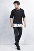 Beyaz Etek Baskılı Tshirt - Siyah Taşlamalı Slim Fit Jean Kombini