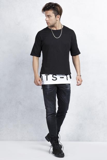 Beyaz Etek Baskılı Tshirt - Siyah Taşlamalı Slim Fit Jean Kombin