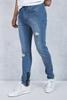 Mavi Yırtık Paçaları Fermuarlı Jean Kombini