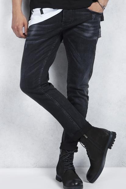 Breezy Siyah Yırtık Taşlamalı Slim Fit Erkek Jean
