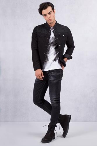 Siyah Kot Ceket - Siyah Jean Kombin