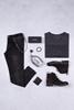 Siyah Kırçıllı V Yaka Tshirt - Siyah Taşlama Jean Kombini