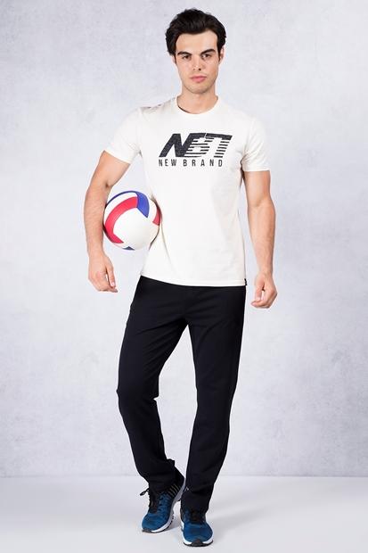 Ekru Baskılı Tshirt - Lacivert Eşofman Kombin