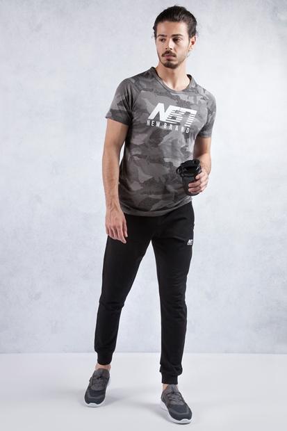 Koyu Gri T-shirt - Siyah Eşofman Kombin