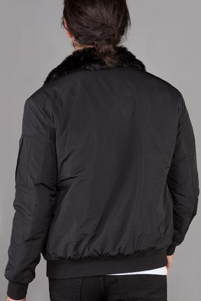 Kürk Detaylı Şişme Erkek Siyah Mont