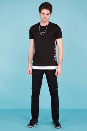 Siyah Baskılı Tişört Erkek Kombin