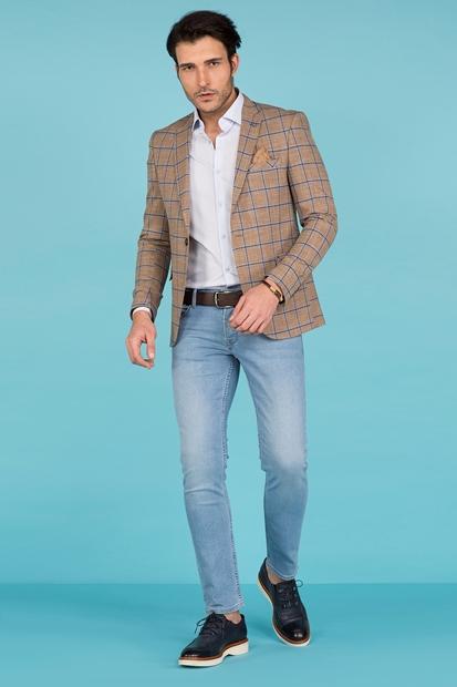 Ekose Desenli Blazer Ceket Erkek Kombin