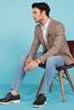 Ekose Desenli Blazer Ceket Erkek Kombini