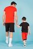Kırmızı Tişört Siyah Şort Baba Oğul Kombini