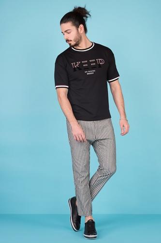 Gri Çizgili Pantolon Erkek Kombin