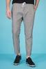 Beli lastikli ince Gri Çizgili Pantolon Erkek Kombini