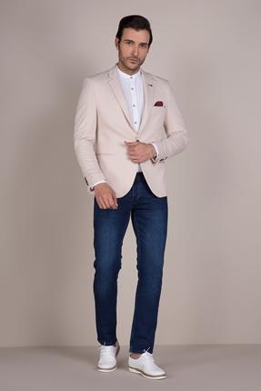 Krem Rengi Blazer Ceket Erkek Kombin