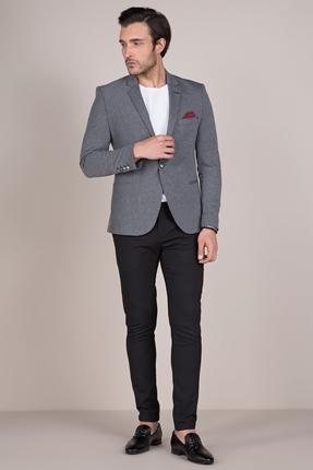 Koyu Gri Blazer Ceket Erkek Kombin