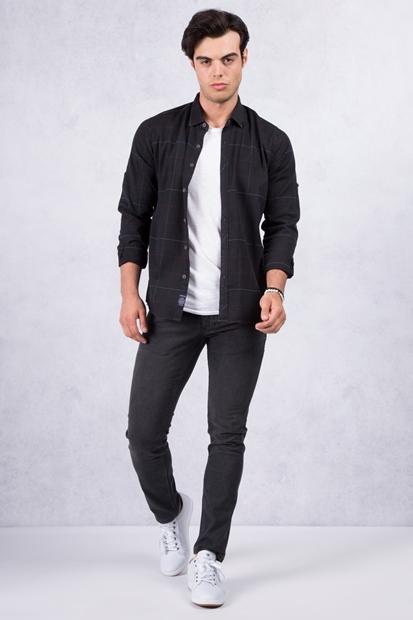 Siyah Kareli Gömlek - Siyah Kot Kombin