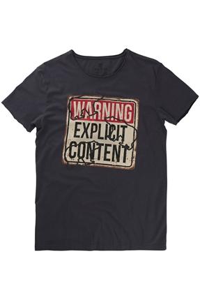 Warning Gri Erkek Tişört