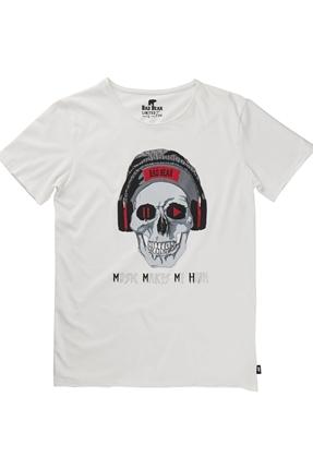 Pay/Pause Beyaz Erkek Tişört