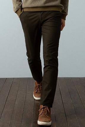Dokuma Kahverengi Erkek Pantolon
