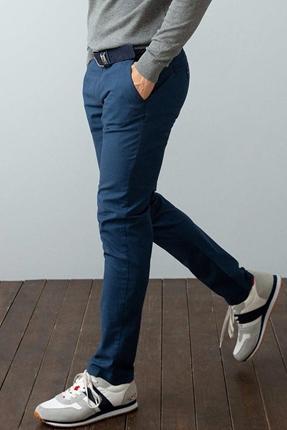 Dokuma Mavi Erkek Pantolon