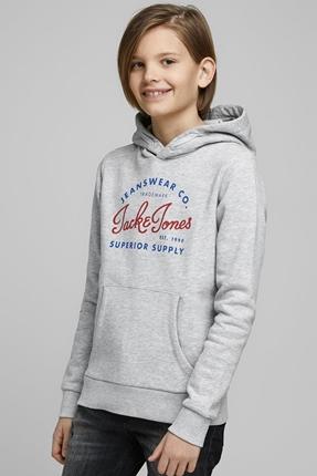 Logo Hood Gri Çocuk Sweatshirt