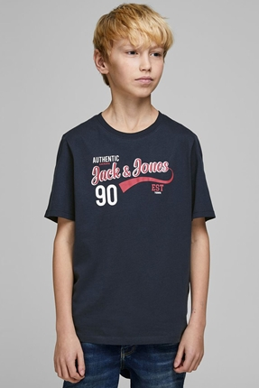 Logolu Lacivert Erkek Çocuk Tişört