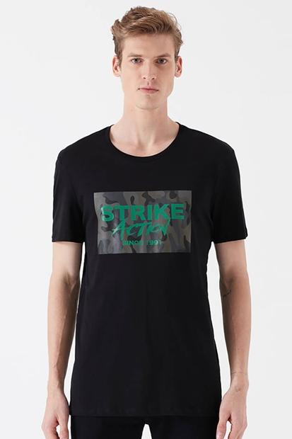 Strıke Baskılı Siyah Erkek Tişört