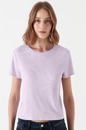 Kısa Kollu Penye Açık Lila Tişört