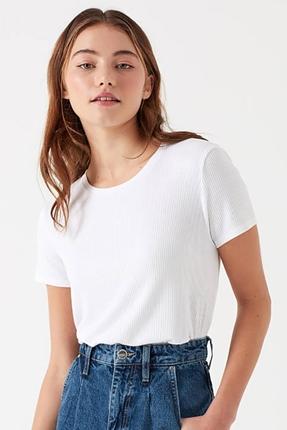 Kısa Kollu Beyaz Kadın Tişört