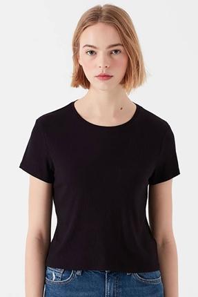 Kısa Kollu Siyah Kadın Tişört