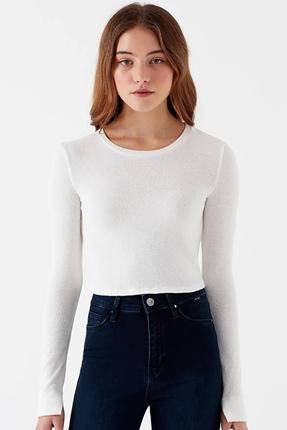 Uzun Kollu Kırık Beyaz Kadın Tişört