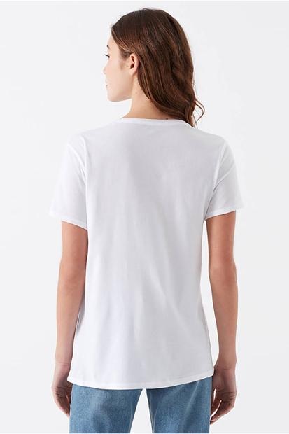 Baskılı Beyaz Kadın Tişört