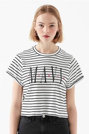 Baskılı Siyah Çizgili Beyaz Kadın Tişört