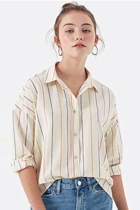 Çizgili Kırık Beyaz Sarı Kadın Gömlek