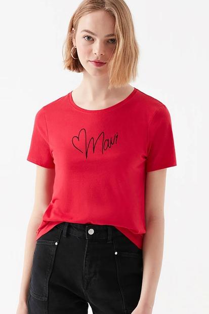 Baskılı Kırmızı Kadın Tişört