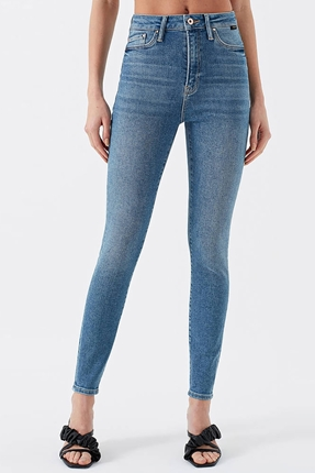 Serenay Gold Shape Mavi Kadın Pantolon
