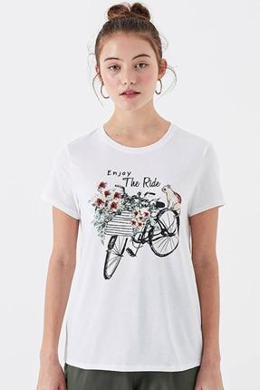 Bisiklet Baskılı Penye Kadın Beyaz Tişört