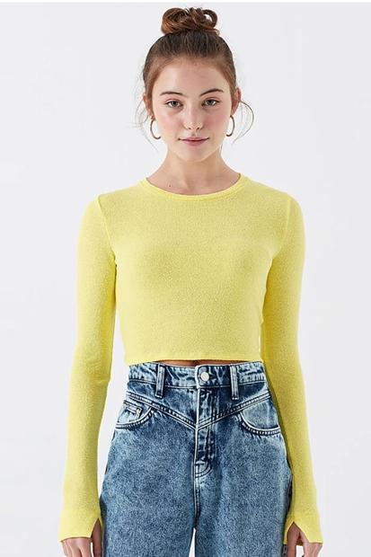 Uzun Kol Penye Kadın Sarı Tişört